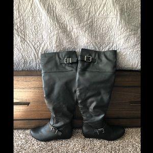 "Tall Black Aldo Boots 2"" built in heel"